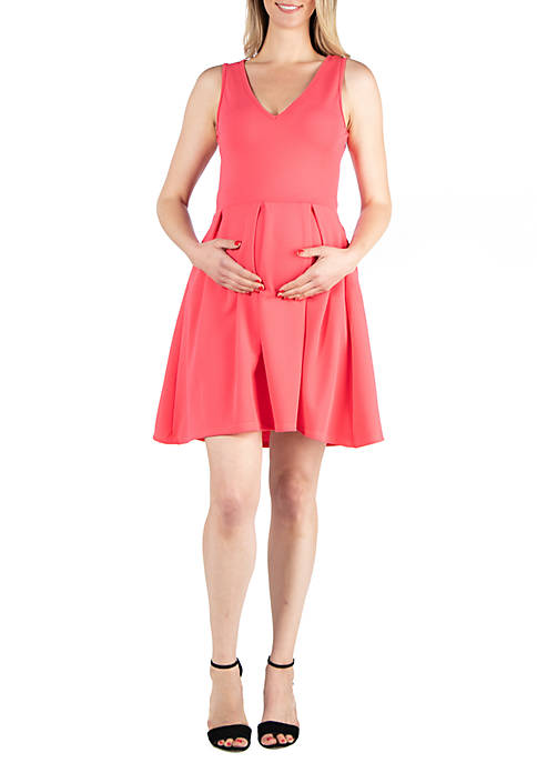 24seven Comfort Apparel Maternity Sleeveless Fit and Flare