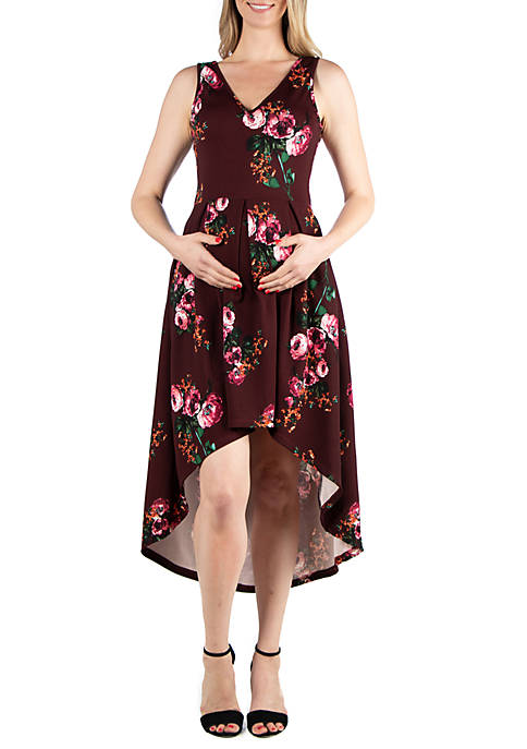 24seven Comfort Apparel Maternity Floral High Low Dress