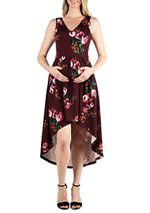24seven Comfort Apparel Maternity Floral High Low Dress with Pockets
