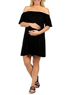 24seven Comfort Apparel Maternity Loose Fit Off The Shoulder Mini Dress