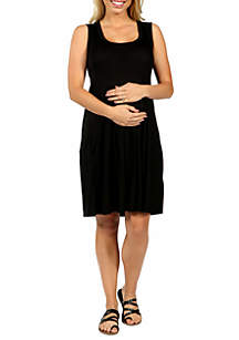 24seven Comfort Apparel Maternity Sleeveless Pleated Fit and Flare Dress