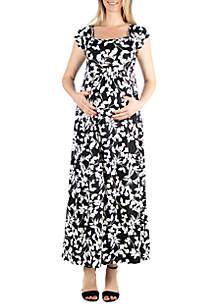 24seven Comfort Apparel Maternity Cap Sleeve Empire Waist Maxi Dress
