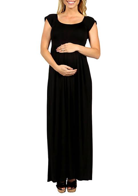 24seven Comfort Apparel Maternity Cap Sleeve Empire Waist
