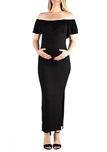 24seven Comfort Apparel Maternity Ruffled Off the Shoulder Maxi Dress