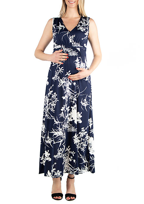 24seven Comfort Apparel Maternity Sleeveless Floral Maxi Dress