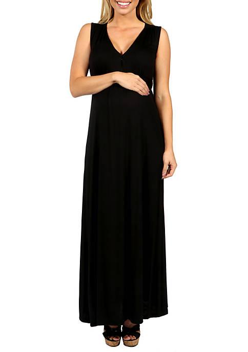 Maternity Sleeveless Empire Waist Maxi Dress