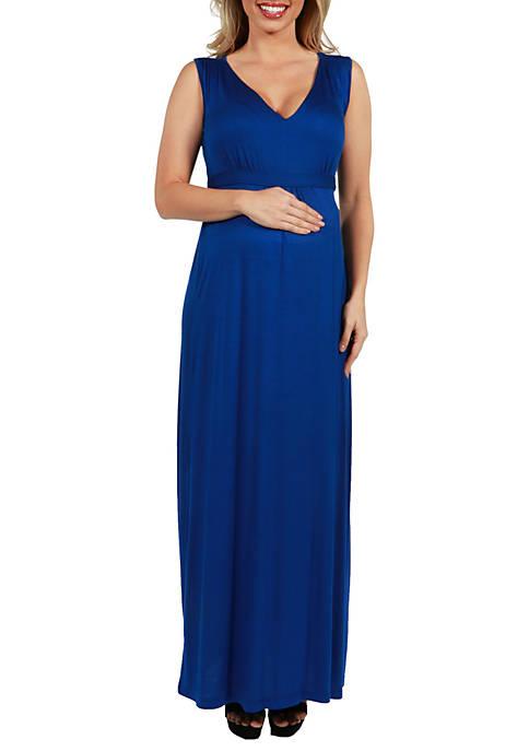 24seven Comfort Apparel Maternity Sleeveless Empire Waist Maxi