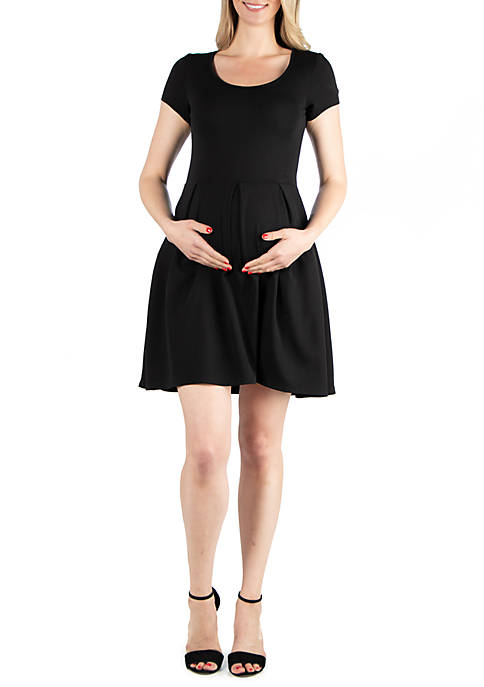 24seven Comfort Apparel Maternity Short Sleeve Knee Length