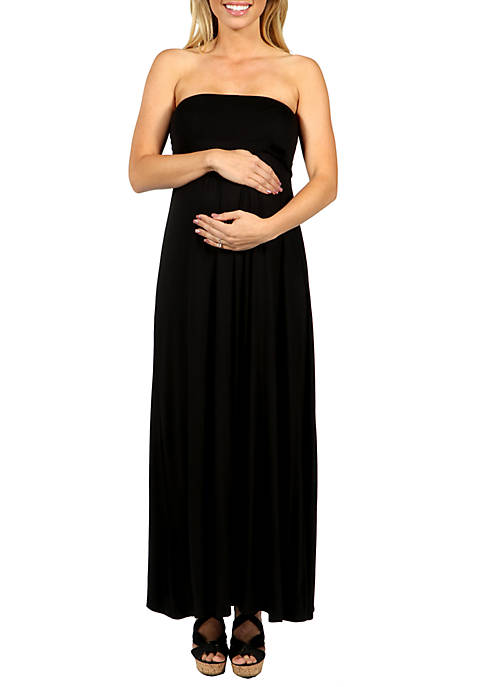 24seven Comfort Apparel Maternity Belted Empire Waist Strapless