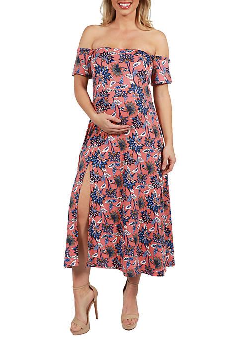 Maternity Off the Shoulder Dress with Side Slit