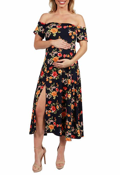 Maternity Floral Off the Shoulder Dress with Side Slit