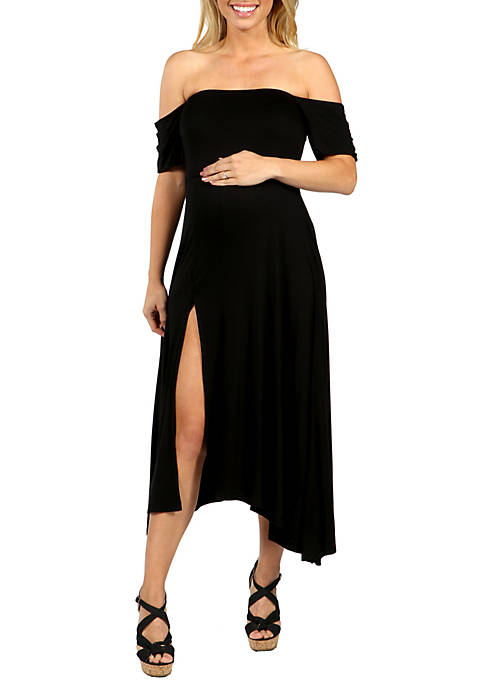 24seven Comfort Apparel Maternity Off the Shoulder Dress