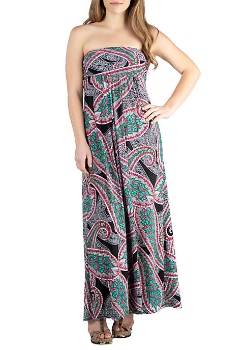 24seven Comfort Apparel Maternity Multicolor Print Maxi Dress