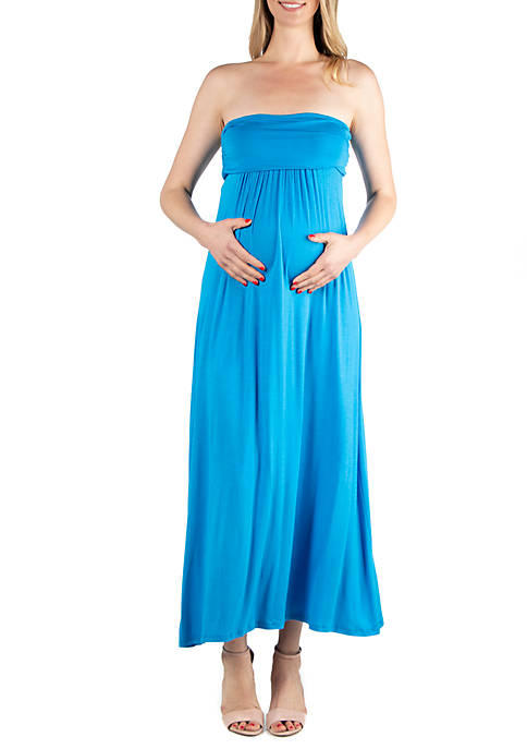24seven Comfort Apparel Maternity Strapless Maxi Dress