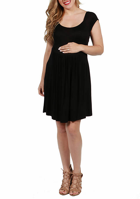 24seven Comfort Apparel Maternity Cap Sleeve Knee Length