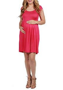 24seven Comfort Apparel Maternity Cap Sleeve Knee Length Babydoll Dress
