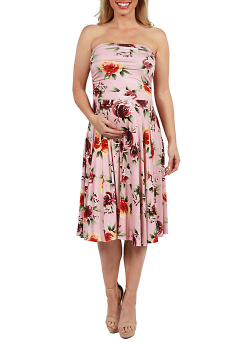 24seven Comfort Apparel Maternity Floral Strapless Summer Dress