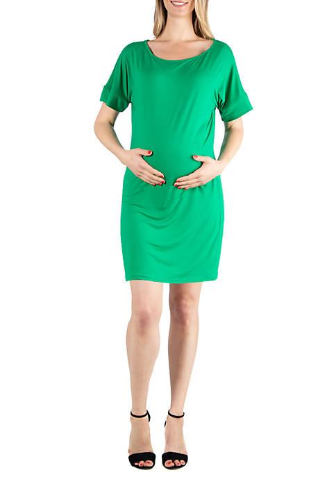 24seven Comfort Apparel Maternity Loose Fitting T-Shirt Dress