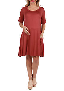 24seven Comfort Apparel Maternity Knee Length Pocket T-Shirt Dress