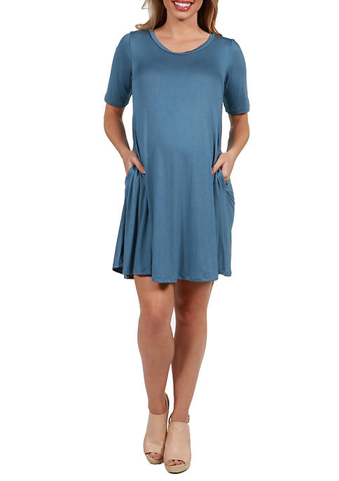 24seven Comfort Apparel Maternity Knee Length Pocket T-Shirt