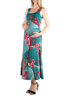 24seven Comfort Apparel Maternity Floral Sleeveless Tank Maxi Dress with Pockets