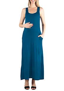 24seven Comfort Apparel Maternity Sleeveless Tank Maxi Dress with Pockets