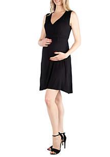 24seven Comfort Apparel Maternity Empire Waist Sleeveless Party Dress