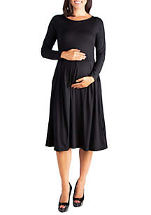 24seven Comfort Apparel Maternity Long Sleeve Fit and Flare Midi Dress