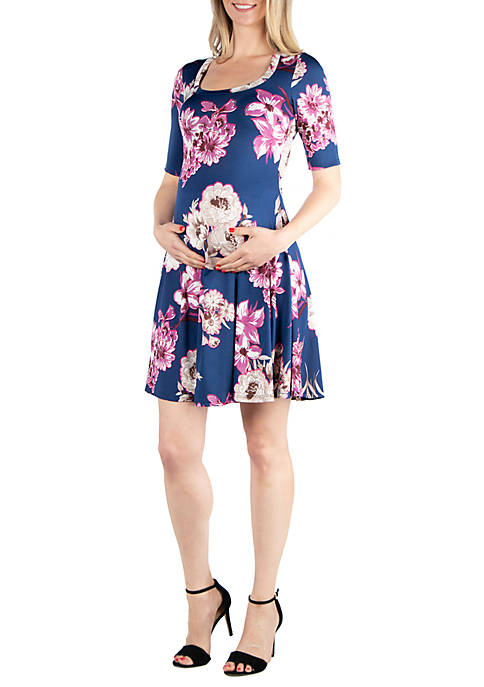 24seven Comfort Apparel Maternity Floral Elbow Sleeve Knee