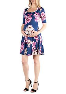 24seven Comfort Apparel Maternity Floral Elbow Sleeve Knee Length Dress