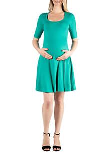 24seven Comfort Apparel Maternity Elbow Sleeve Knee Length Dress