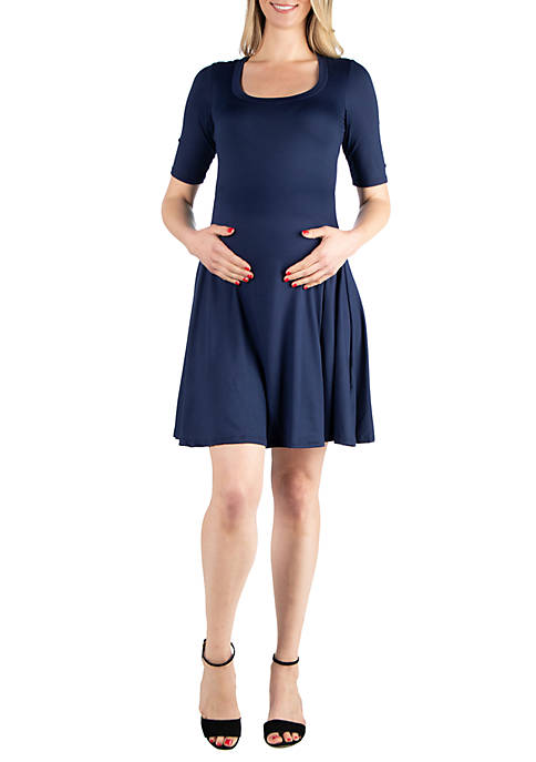 24seven Comfort Apparel Maternity Elbow Sleeve Knee Length