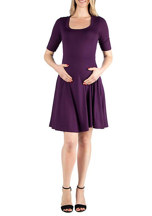 24seven Comfort Apparel Maternity Elbow Sleeve Knee Length