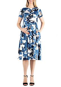 24seven Comfort Apparel Maternity Short Sleeve Midi Skater Dress With Pockets