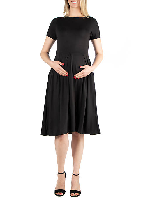 24seven Comfort Apparel Maternity Short Sleeve Midi Skater