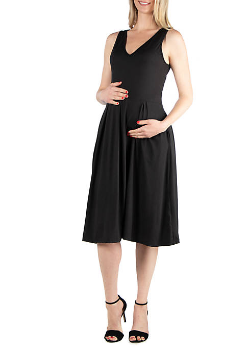 24seven Comfort Apparel Maternity Sleeveless Midi Fit and
