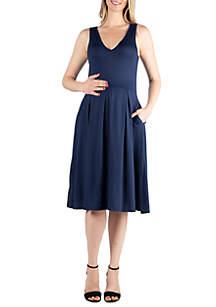 24seven Comfort Apparel Maternity Sleeveless Midi Fit and Flare Pocket Dress