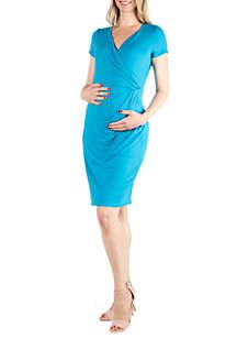 24seven Comfort Apparel Maternity Short Sleeve V Neck Faux Wrap Dress