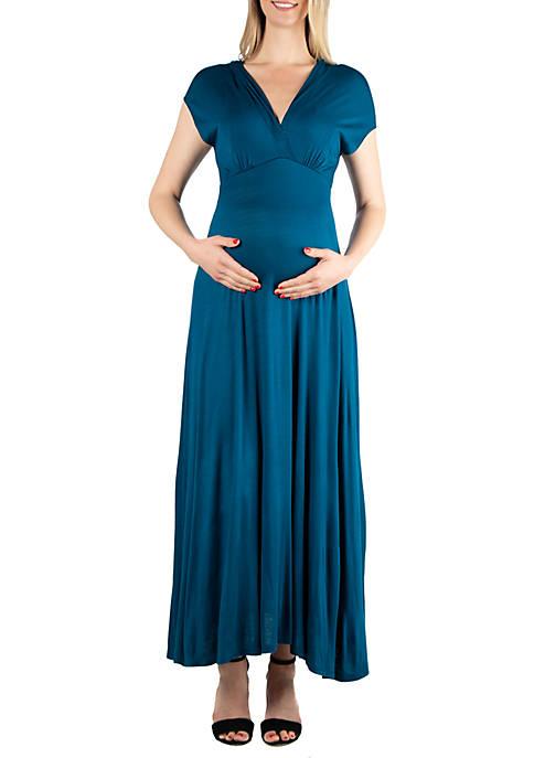 Maternity Empire Waist V Neck Maxi Dress