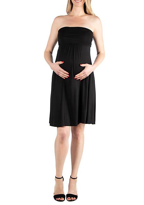24seven Comfort Apparel Maternity Knee Length Strapless Mini