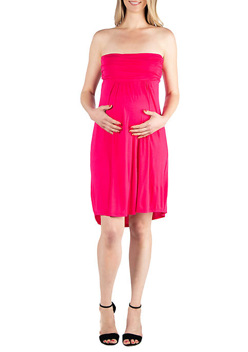 24seven Comfort Apparel Maternity Knee Length Strapless Mini