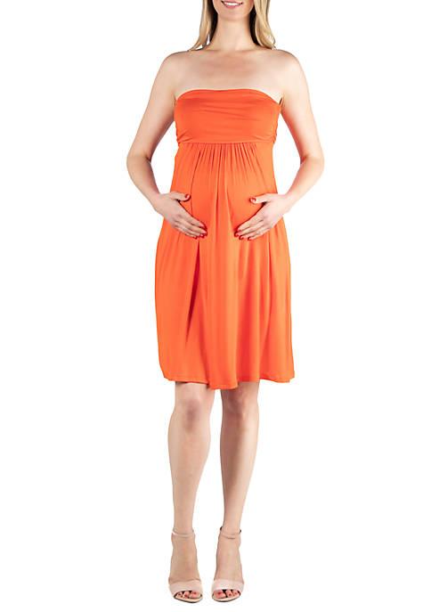 Maternity Knee Length Strapless Mini Dress