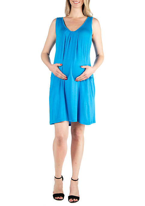 Maternity Sleeveless Empire Waist Knee Length Dress