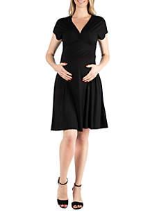 24seven Comfort Apparel Maternity Short Sleeve Empire Waist Dress