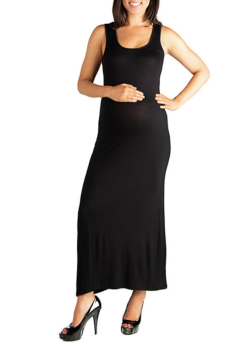 24seven Comfort Apparel Maternity Racerback Maxi Dress