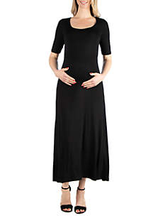 24seven Comfort Apparel Maternity Elbow Sleeve Maxi Dress