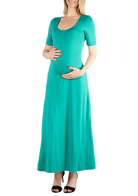 24seven Comfort Apparel Maternity Elbow Sleeve Maxi Dress