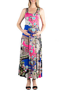 24seven Comfort Apparel Maternity Simple Pink Paisley Tank Maxi Dress