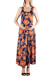 24seven Comfort Apparel Maternity Simple Floral Tank Maxi Dress
