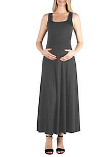 24seven Comfort Apparel Maternity Simple A Line Tank Maxi Dress
